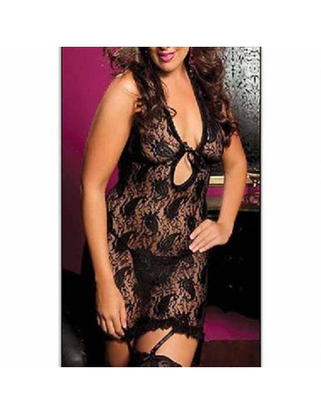 Sexy Lingerie Taglie Comode Babydoll Pizzo Nero Sottoveste intimo Donna