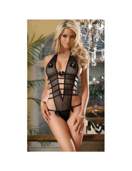 Sexy Lingerie Body Teddy Nero Rete Intimo Donna
