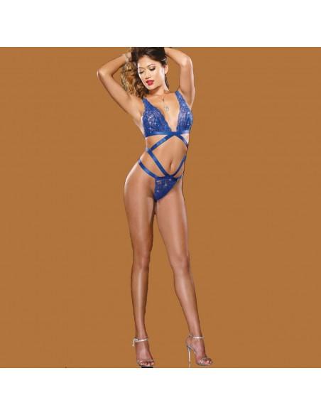 Sexy Body Lingerie Teddy Pizzo Blu Elettrico Intimo Donna No Babydoll