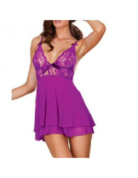 Babydoll Pizzo Viola Sexy Lingerie Chemise Schiena Nuda Intimo Donna Sottoveste