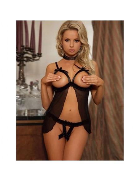 Sexy Lingerie BabyDoll Chemise Nero Coppe Nude Sottoveste Negligè No Body