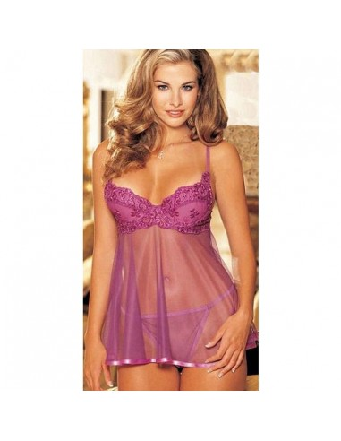 Babydoll Tulle Viola Sexy Lingerie Sottoveste Intimo Donna Chemise Hot Perizoma