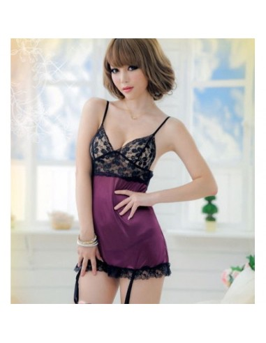 Babydoll Sexy Lingerie Chemise Nero Viola Pizzo Sottoveste Intimo Donna
