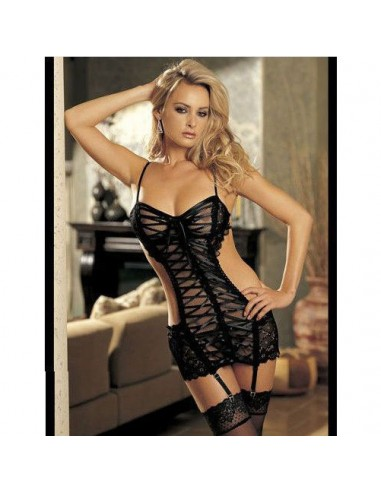 Sexy Lingerie Babydoll Nero Pizzo Stringhe Chemise Sottoveste Intimo Donna
