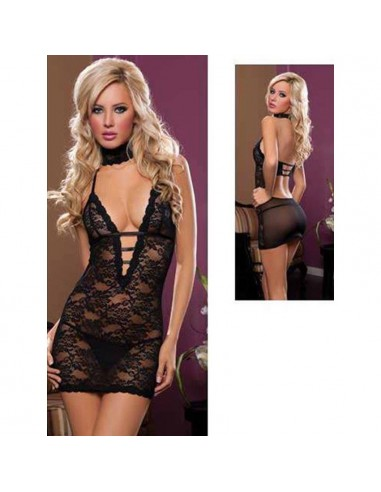 Babydoll Sexy in Pizzo Sottoveste Nera