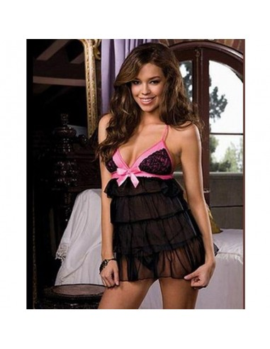 BABYDOLL PIZZO TULLE NERO