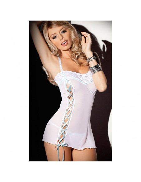 BABYDOLL CHEMISE TULLE BIANCO STRINATURA IN RASO