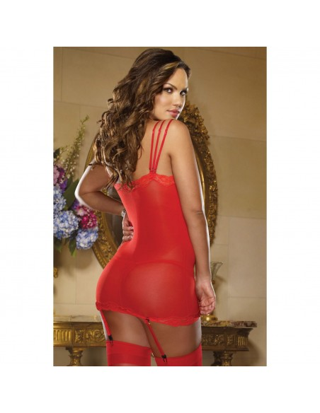 Babydoll Chemise Pizzo Tulle Rosso Mini Abito Sexy Lingerie Intimo Donna