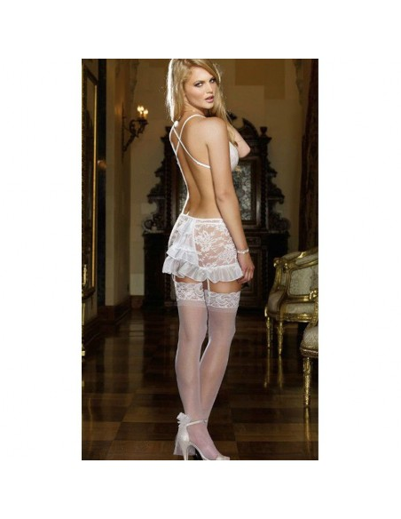 Babydoll Sexy Lingerie Chemise Sposa Pizzo Bianco Perizoma