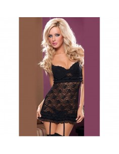 Sexy Lingerie Babydoll Chemise Nero Pizzo Tulle Doll Sottoveste