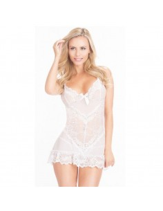 Sexy Lingerie Babydoll Bianco Pizzo Con Disegni Floreali Doll Hot Chemise Sposa