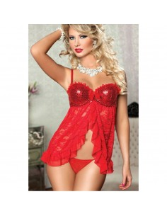 Babydoll Sexy Rosso Sottoveste Pizzo