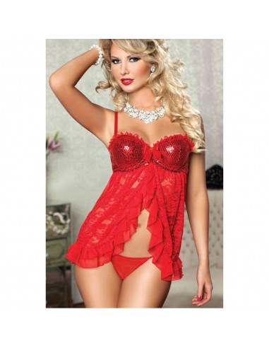 Sexy Lingerie Babydoll Pizzo Rosso Paillettes Tulle Chemise Sottoveste