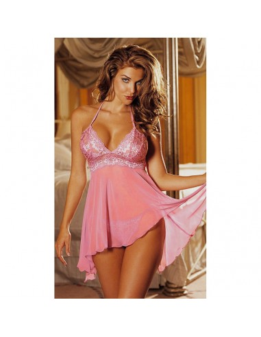 Sexy Lingerie Baby doll Rosa Pizzo Taglie Comode Forti Intimo Donna