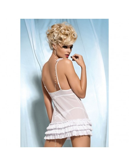 Babydoll Nero Rosso Bianco Tulle Chemise Sexy Lingerie Intimo Obsessive Kalia