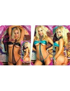 Sexy Lingerie Body Teddy Nero E Azzurro Intimo Donna Coppe PVC