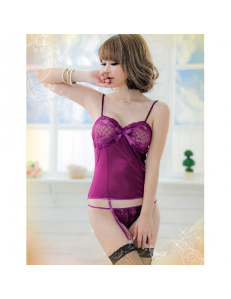Sexy Lingerie Babydoll Chemise Viola Pizzo Guepiere Reggicalze Doll Intimo Donna