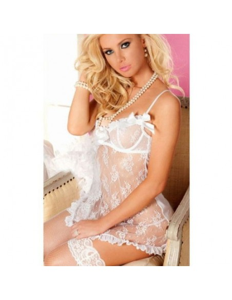 Sexy Lingerie Chemise Bianco Sposa Pizzo Taglie Forti Comode Curvy Oversize
