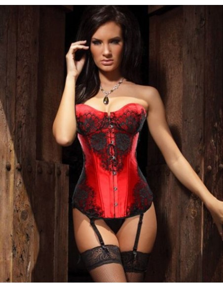 Sexy Lingerie Corsetto Top Bustino Bourlesque Rosso S M No Body