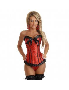 Sexy Lingerie Corsetto Bustino Bourlesque Rosso A Pois Neri S 40 42