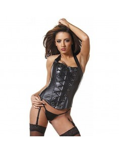 CORSETTO BURLESQUE ECOPELLE NERO