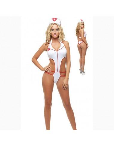 Sexy Lingerie Travestimento Sexy Infermiera Costume Zip Anteriore
