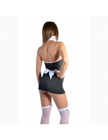 Sexy Lingerie Cameriera Nero Travestimento Grembiule Bianco Vestito Costume