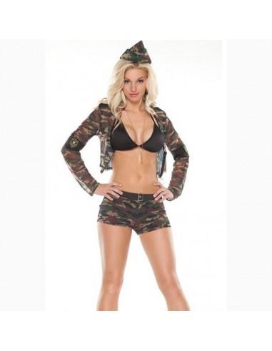 Sexy Lingerie Travestimento Soldatessa Militare Mimetica Tessuto Semitrasparente
