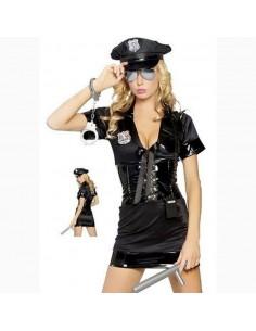 Sexy Lingerie Travestimento Poliziotta Nero Inserti In Tessuto Effetto Pelle