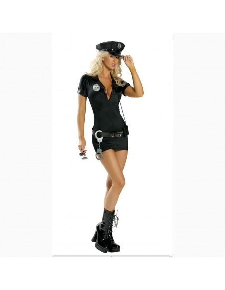 Sexy Travestimento Poliziotta Nero Manette E Distintivo In Plastica Costume