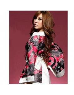 Sexy Lingerie Kimono Geisha Vestaglia Raso Fiori Rosso Fantasia Floreale