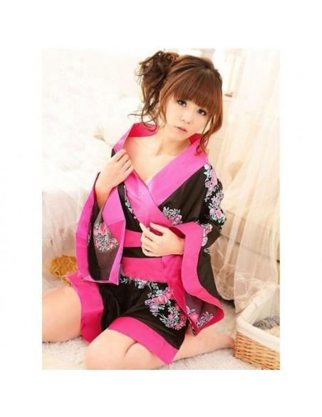 Sexy Lingerie Kimono Geisha Vestaglia Raso Fucsia Fiori Casacca Intimo