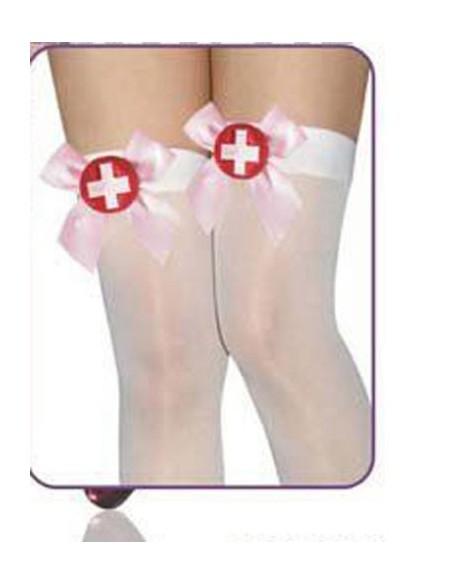 Sexy Lingerie Calze Autoreggenti 15 Den Bianche Infemiera Intimo