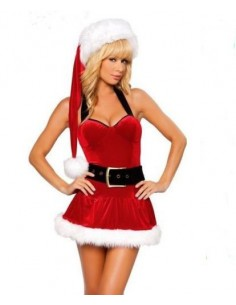 Sexy Lingerie Travestimento Babba Natale Santa Claus Rifiniture In Peluches