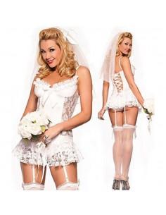 Lingerie Sexy Babydoll Sposa Pizzo Bianco con Velo e Culotte Body Doll