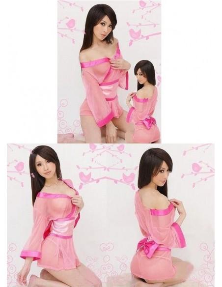 Kimono Corto In Raso Rosa