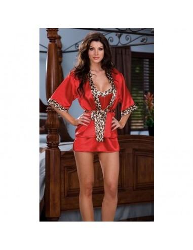 Vestaglia Leopardata Sexy In Raso Rosso