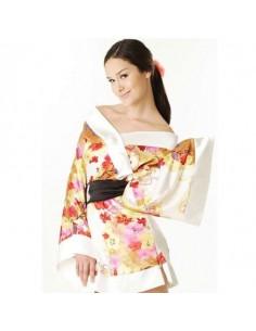Sexy Lingerie Kimono Geisha Vestaglia Raso Bianco Fiori Babydoll Casacca
