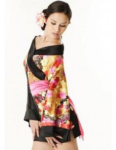 Sexy Lingerie Kimono Geisha Vestaglia Raso Nero Fiori Fantasia Floreale
