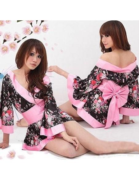 Sexy Lingerie Kimono Geisha Vestaglia Raso Rosa Fiori Casacca