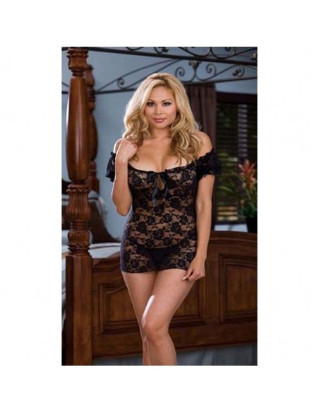 Babydoll Nero In Pizzo Intimo Curvy