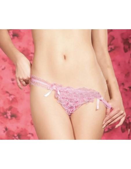 Sexy Perizoma Slip Rosa Lingerie Intimo Donna Tulle E Pizzo Tanga Mutandina