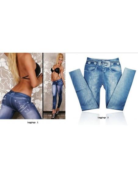 Leggings Blu Effetto Jeans Sexy Donna Fuseaux Pantacollant Pantalone