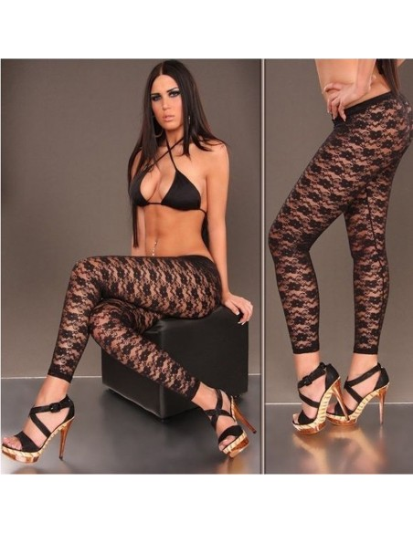 Sexy Leggings Nero Pizzo Fuseaux Pantalone Pantacollant No Body Teddy