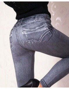 Sexy Leggings Nero Effetto Jeans Pantalone Fuseaux Hot Aderenti Pantacollant