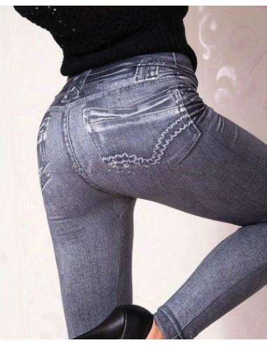 Sexy Leggings Nero Effetto Jeans Pantalone Fuseaux Aderenti Pantacollant