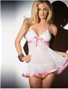 Babydoll Bianco In Pizzo e Tulle Taglie Comode