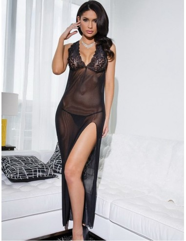 Sexy Lingerie Babydoll Lungo Nero Coppe In Pizzo Chemise Lingerie
