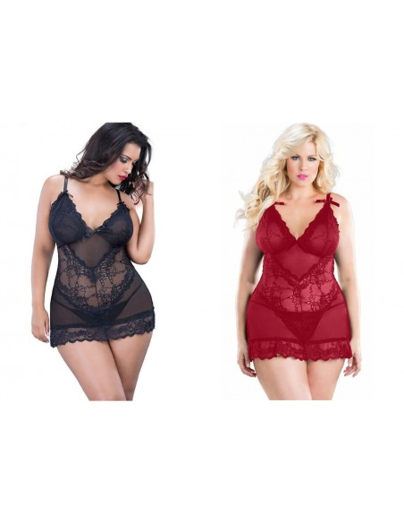 Babydoll Rosso Nero Intimo Donne Formose