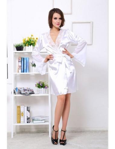 Sexy Lingerie Vestaglia Kimono Lingerie intimo Raso Bianca Rifiniture In Pizzo